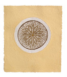 13. ROSE WINDOW 48,5cm x 55,5cm x 0,5cm, paper, sand, gold leaf, 2010