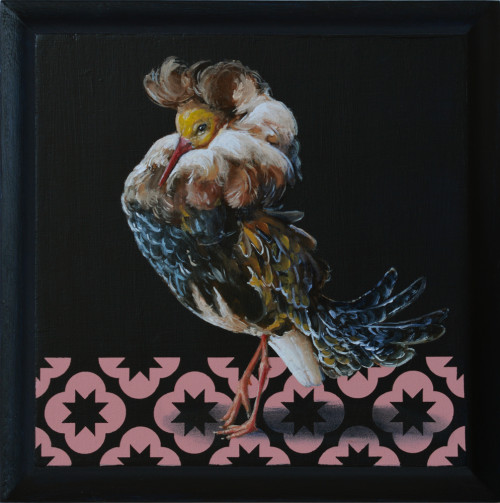 Courting Bird 14×14cm-oil and acrylic on wood panel-2016