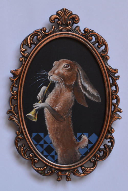 Musician Hare-12x8cm-oil and acrylic on plywood-2016