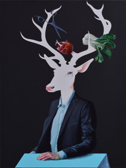 szarvas az asztalnal-stag at the table-80x60cm-oil and acrylic on canvas-2016